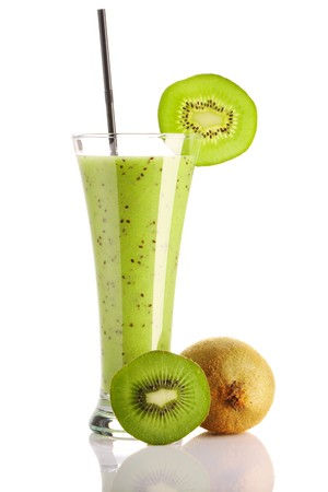 blend: Kiwi smoothie isolated on white