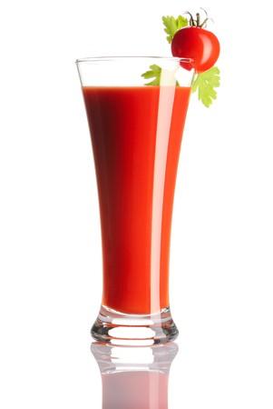 Tomato juice isolated on white photo