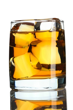 Scotch on the rocks isolated on white photo