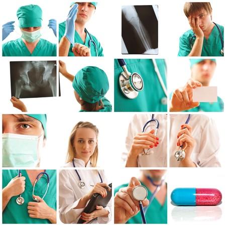 equipos medicos: Collage realizado con im�genes relacionadas m�dicas  Foto de archivo
