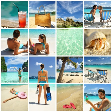 Collage made with beautiful tropical resort shots photo