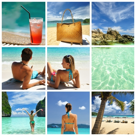holiday: Collage made with beautiful tropical resort shots Stock Photo
