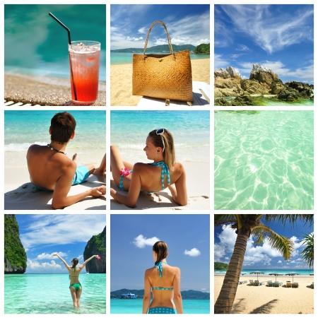 destinos: Collage realizado con disparos de hermoso complejo hotelero tropical