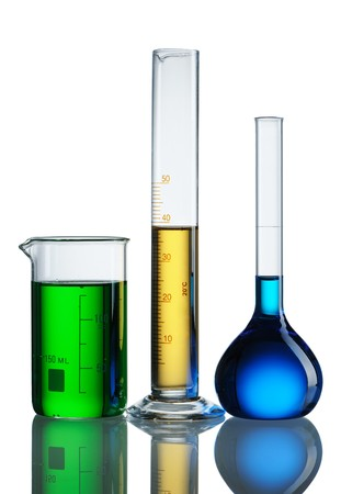 reagents: Chemical flasks with reagents over white