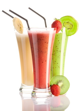 fruit shake: Smoothies isolated on white - strawberry, kiwi & banana Stock Photo