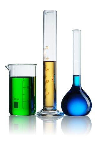 yellow yellow lab: Chemical flasks with reagents over white
