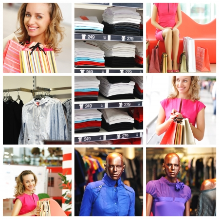 Collage made with shopping related images  No brandnames or copyright objects Stock Photo - 14256968