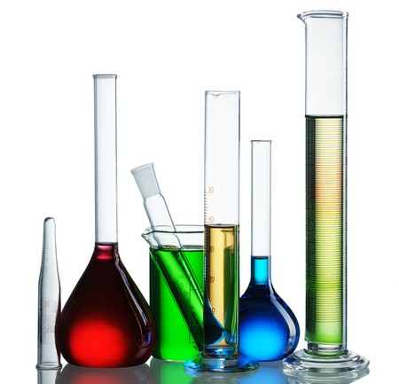 reagents: Chemical flasks with reagents isolated on white background
