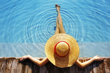 Woman in hat relaxing at the pool  photo