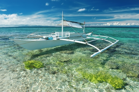 bohol: Beautiful beach with boat at Balicasag island, Philippines Stock Photo