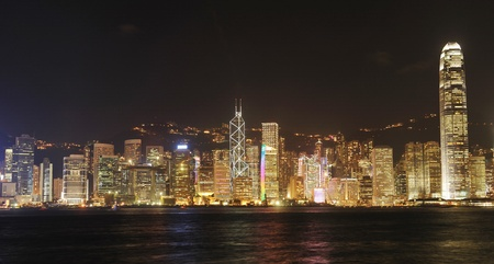 Hong Kong cityscape at night. No brand names or copyright objects. Stock Photo - 8912071