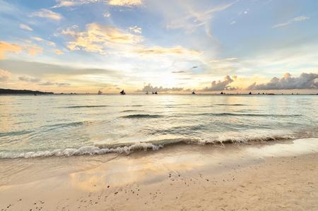 Beautiful sunset at Boracay, Philippines photo