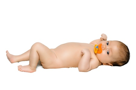 Baby boy laying over white photo