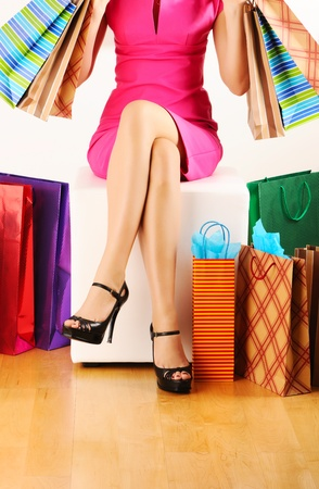 Woman's legs and shopping bags Stock Photo - 9120890
