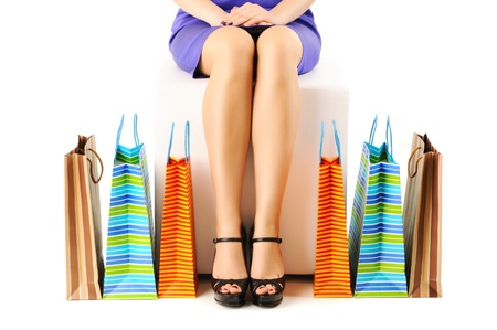 Womans legs and shopping bags  Stock Photo