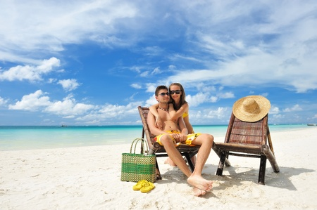 Couple on a tropical beach Stock Photo - 9213300