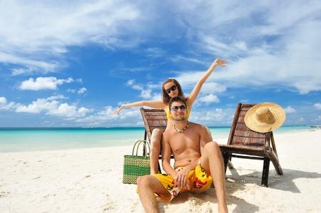 Couple on a tropical beach Stock Photo - 9213298