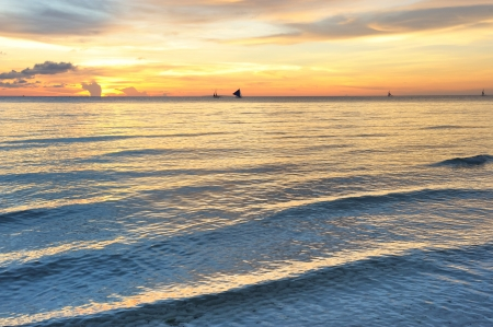Beautiful sunset at Boracay, Philippines Stock Photo - 9213328