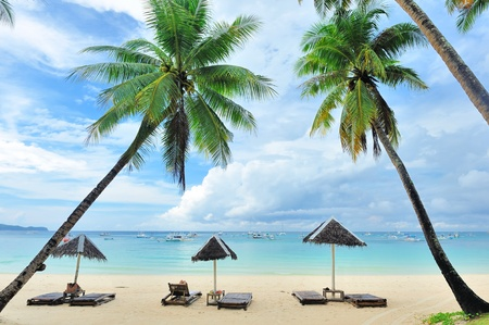 boracay: Beautiful beach with palm trees at Philippines