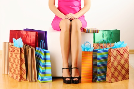 shopper: Womans legs and shopping bags  Stock Photo