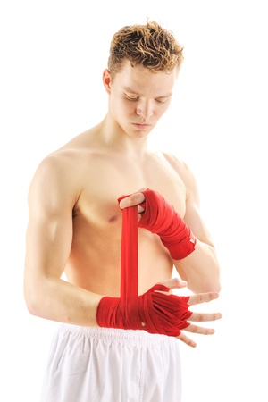 jujitsu: Young man getting ready to fight Stock Photo