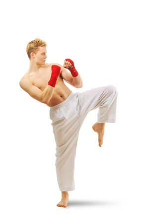 Man training taekwondo Isolated on white background Stock Photo - 9513898