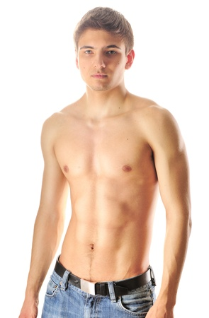 Man with muscular torso over white photo