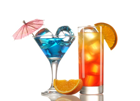 Tequila Sunrise and Blue Curacao cocktail isolated on white Stock Photo - 9636120