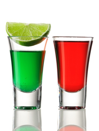 Shot drink cocktails isolated on white photo