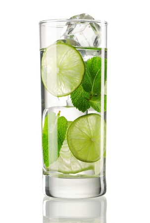 lime fruit: Mojito cocktail isolated on white