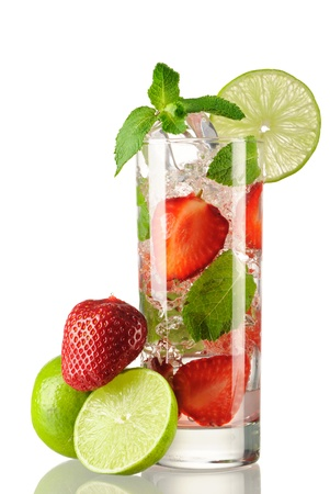 Strawberry mojito cocktail isolated on white