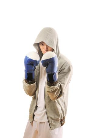 Man training boxing Isolated on white background photo