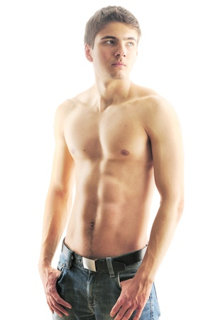 abdominal: Man with muscular torso over white Stock Photo