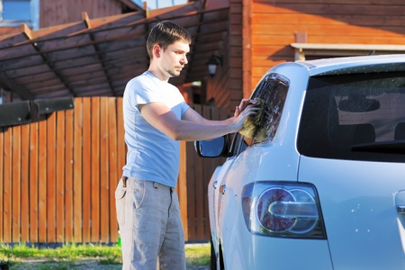 Car washing on open air photo