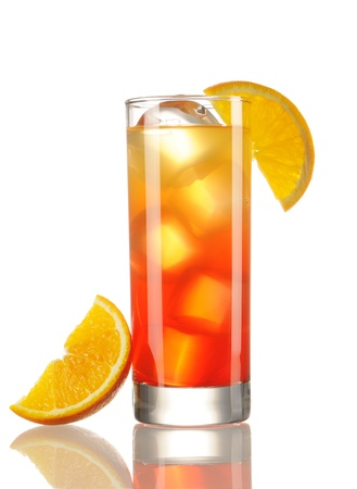 cocktail glasses: Tequila Sunrise cocktail isolated on white