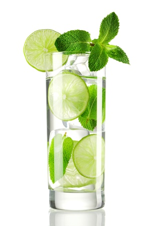 Mojito cocktail isolated on white photo