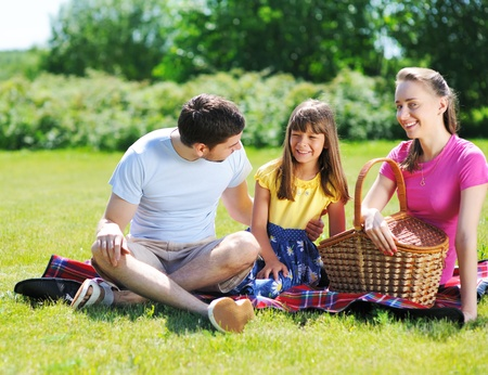 Family on picnic at sunny day Stock Photo - 9828759