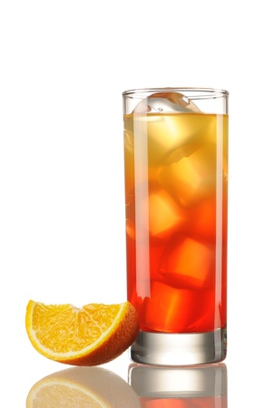Tequila Sunrise cocktail isolated on white Stock Photo - 9954061