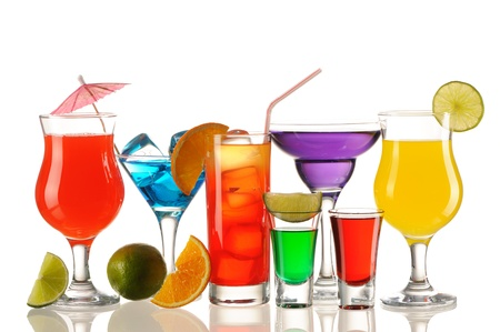 Tropical cocktails isolated on white photo