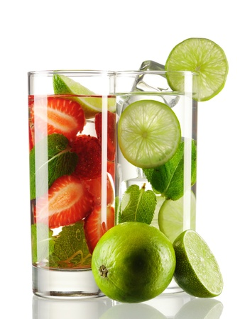 Mojito cocktails - original and strawberry isolated on white Stock Photo - 9954071