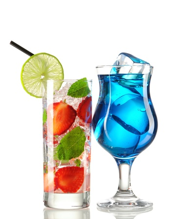Strawberry mojito and Blue Curacao cocktails isolated on white photo