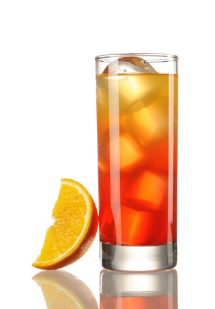 Tequila Sunrise cocktail isolated on white photo