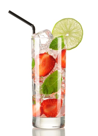 Strawberry mojito cocktail isolated on white photo