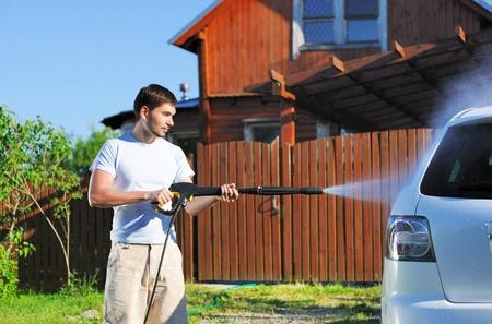 hose: Auto lavado en aire libre Foto de archivo