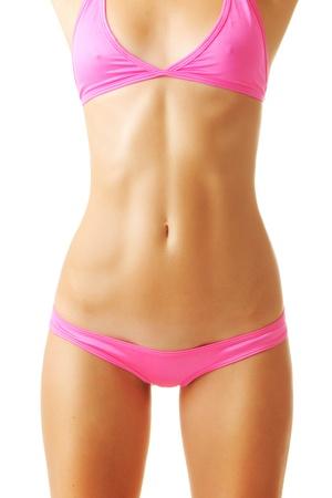 Sexy tan woman in bikini isolated on white background Stock Photo - 10320466
