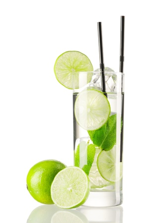 lime juice: Mojito cocktail isolated on white
