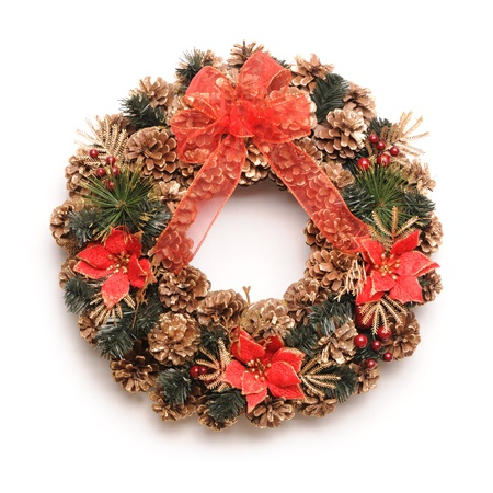 Traditional christmas wreath isolated on white Stock Photo - 10740567