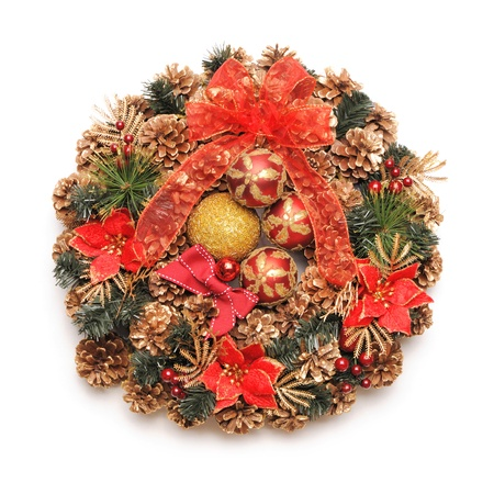 Traditional christmas wreath isolated on white photo