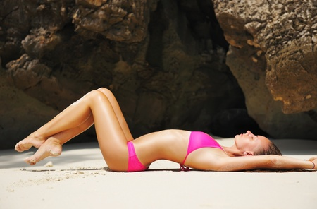 sexy girl: Girl on a tropical rocky beach