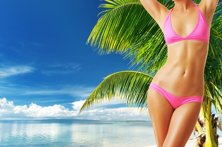 Woman with beautiful body at tropical beach. Collage. Stock Photo - 12398695